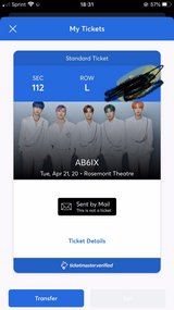 AB6ix Concert Ticket for Chicago in Plainfield, Illinois