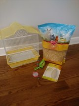Bird cage and supplies for small pet bird in Aurora, Illinois