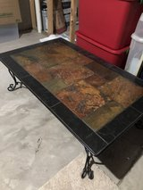 Slate and Wrought Iron Coffee Table in Naperville, Illinois