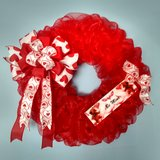 """18"""" Valentine's Day Wreath Red Mesh with Bow and Handmade Sign in Greenville, North Carolina"""