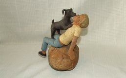 Lois Palmer Huth Sculpture ~ A Boy and His Dog ~ 1985 in Westmont, Illinois