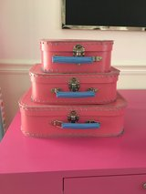 Set of 3 Stacking Pink Suitcases from Land of Nod / Crate & Kids in Batavia, Illinois