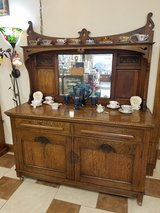 Antique Oak Buffet with Beveled Mirror in Fort Leonard Wood, Missouri