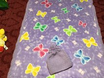 Purple butterfly fleece baby blanket in Byron, Georgia