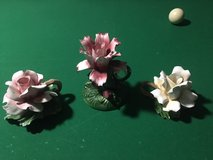 CAPODIMONTE CANDLE HOLDERS (Set of 3 Made in Italy) with Hand Crafted Roses in Fort Lewis, Washington