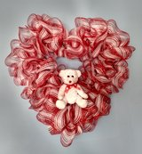 """23"""" x 23"""" Valentine's Day Heart Shaped Wreath White with Red Foil Mesh and Bear in Greenville, North Carolina"""