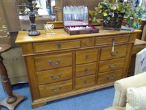 Oak 11 Drawer Long Dresser and Mirror in Naperville, Illinois