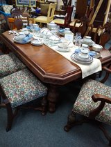 Antique Walnut Table with 6 Chairs and 2 Leaves in Naperville, Illinois