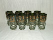8 Cera Cocktail / Water Glasses Green / Gold Leaf ~ Intricate Detail ~ MCM Barware in Naperville, Illinois
