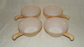 Vintage Fire King Oven Ware Peach Beehive Handled Soup / Chili Bowls Set of 4 in Naperville, Illinois
