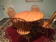 Oak Dining Table WITH 6 chairs and extension leaf in Bolingbrook, Illinois