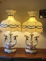 Large Vintage Italian Capodimonte Porcelain Table Lamps With Victorian Lamp Shades in The Woodlands, Texas