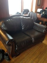 Faux leather & wood loveseat in Naperville, Illinois