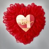 """14"""" x 14"""" Valentine's Day Heart Shaped Wreath Red Mesh and Wood Love Heart in Greenville, North Carolina"""