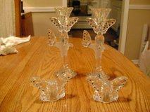 Lenox Set Of 2 Swarovski Butterfly Candlestick Holders & Salt & Pepper Shaker in Toms River, New Jersey