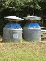 Two big round feeders in Fort Polk, Louisiana