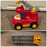 Lot of 2 Vehicles - Generic Hotwheels/Matchbox Car Carrier Truck and Little People Fire Truck in Bolingbrook, Illinois