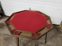 Mid-Century 8 Station Folding Poker Table,Tabletop Cover in Bolingbrook, Illinois