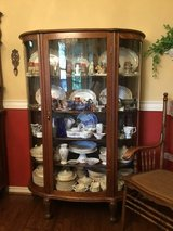 Antique LARKIN solid oak china curio cabinet in Arlington, Texas