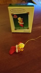 Hallmark Miniature Ornament Tweety Bird Candy Cane Tweat in Yorkville, Illinois