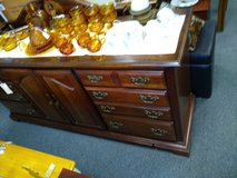 Dark Wood Long Dresser with Mirror in Chicago, Illinois