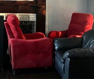 Set of Red Microfiber Suede Reclining Chairs in Sandwich, Illinois