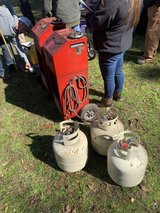 Refrigerant recovery system and three tanks of r12 in Beaufort, South Carolina