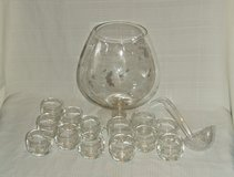 Brandy Snifter Wine Glass Punch Bowl Set / Etched Flowers ~ Impressive in Batavia, Illinois