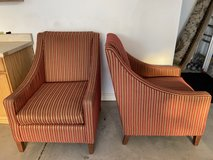 Red and Gold Striped Fabric Living Room Chairs in Joliet, Illinois