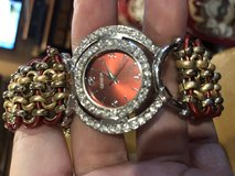 Metal and leather watch with bling. in Leesville, Louisiana