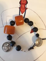 NEW - BALTIC AMBER AND ONYX BEADS/ST.FRANCIS OF ASSISI CHARM BOHO STYLE BRACELET in Sandwich, Illinois
