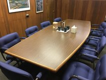 10' Conference Room Table w/ 10 Upholstered Chairs, Excellent Condition in Westmont, Illinois