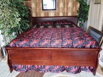 Complete King Size cherry sleigh bed w/mattress set in Fort Campbell, Kentucky