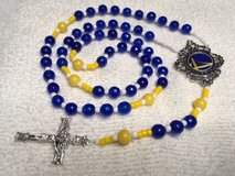Golden State Warriors Rosary Blue and Yellow Faceted Czech Beads with Official Charm for Middle ... in Houston, Texas