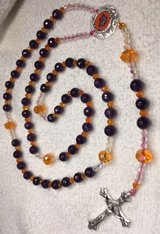Rosary Phoenix Suns Royal Purple and Orange Czech Crystal Beads with Official Pendant Cusrom in Houston, Texas