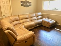 Large Tan Leather Reclining Sectional Couch in Kingwood, Texas