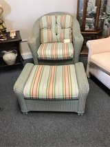 Lloyd Loom Wicker Chair and Ottoman in Bolingbrook, Illinois