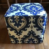 """IKAT STYLE BLUE, WHITE AND TAN UPHOLSTERED 17"""" OTTOMAN in Alamogordo, New Mexico"""