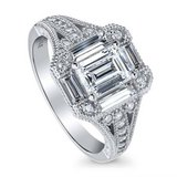 PICK UP TODAY**Emerald Cut CZ In Art Deco Engagement Ring**SZ 7 in Houston, Texas