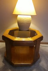 Wood and table with glass insert in Joliet, Illinois