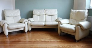 3 Piece Leather All Reclining Couch and Chair Set in Ramstein, Germany