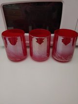 3 Vintage Blown Glass Red White Swirl Cups in Fort Leonard Wood, Missouri
