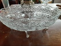 mid century modern press cut glass oblong footed fruit bowl in Morris, Illinois