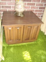 Vintage 1960's, Two(2) Walnut End Tables with Storage, Formica Tops in Tinley Park, Illinois