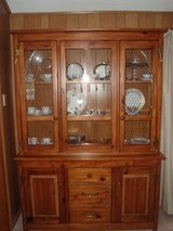 Country/Farmhouse Style Pine Wood China Display Cabinet w/Storage in Tinley Park, Illinois