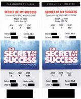(2) tickets Secret of My Success at Aurora Paramount Theater Fri 3/13 in Chicago, Illinois