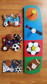 Boys room sports theme hanger and three switch plates in Tinley Park, Illinois