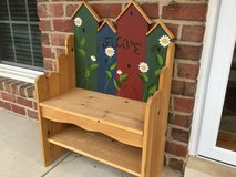 Hand painted bench in Aurora, Illinois