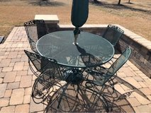 Wrought iron patio table set in Chicago, Illinois