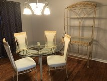 """54"""" 1/2"""" Thick Scalloped Edge Glass dining table with 4 chairs and matching Bakers Rack Excellen... in St. Charles, Illinois"""